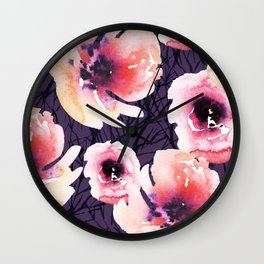 Roses on Sticks with Purple Wall Clock