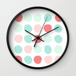 Painted dot abstract trendy colors gender neutral seaside coral tropical minimal Wall Clock