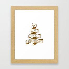 Merry Christmas- Glitter Gold Xmas Typography Framed Art Print