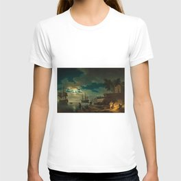 Night, A Port in Moonlight by Claude Vernet T-shirt