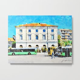 Pescara: bus terminus in front of the old station building Metal Print