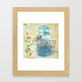 Summer Flowers and Busy Bees Framed Art Print