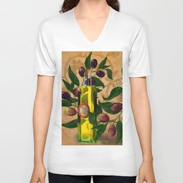 Olives and Italian Olive Oil Unisex V-Neck