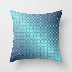 Blue Metallic Tiles Throw Pillow