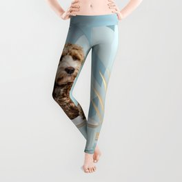Goldendoodle Baby Blue Photo Collage Leggings