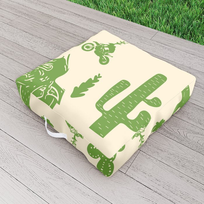 Cactus, Bikes and Wolfs Outdoor Floor Cushion