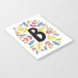 Letter 'B' Initial/Monogram With Bright Leafy Border Notebook