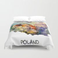 poland Duvet Covers featuring Map of Poland watercolor by jbjart