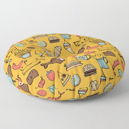 Food Frenzy yellow Floor Pillow