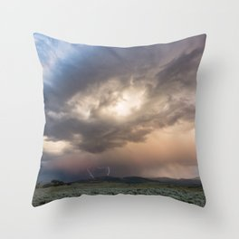 Yellowstone National Park - Sunset storm over the Washburn Range Throw Pillow