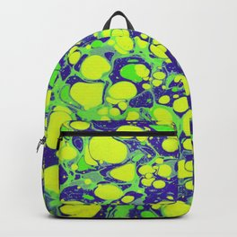 navy blue and green coloured marbling art Backpack