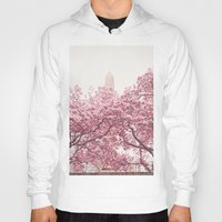 central park Hoodies featuring Central Park - Cherry Blossoms by Vivienne Gucwa