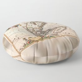 1658 Map of North America and South America with 2015 enhancements Floor Pillow