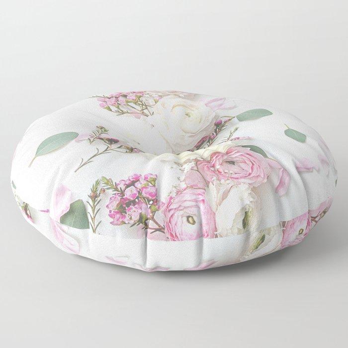 SPRING FLOWERS WHITE & PINK Floor Pillow