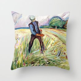 The Haymaker by Edvard Munch Throw Pillow