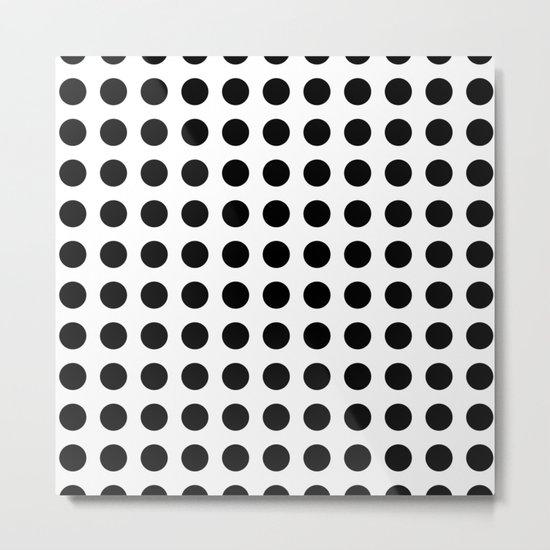 Simply Polka Dots in Midnight Black Metal Print