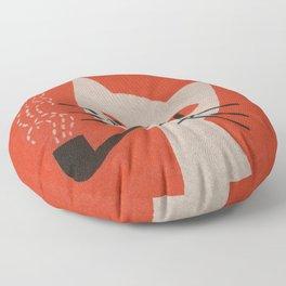 Retro White Cat Smoking a Pipe Floor Pillow