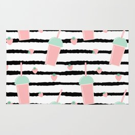 cute lovely pattern background with strawberry smoothies on black brush Rug