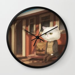 A cat waiting for someone Wall Clock