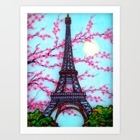 eiffel tower Art Prints featuring Eiffel Tower by ArtLovePassion