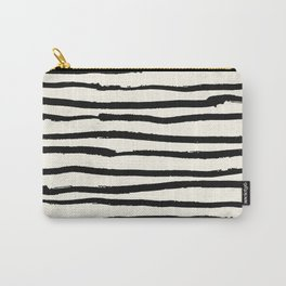 Tribal Stripes Black Earth on Ivory Cream Carry-All Pouch