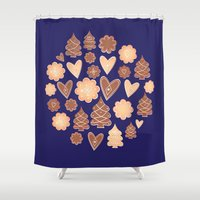 cookies Shower Curtains featuring Christmas cookies by Studio Spotnik