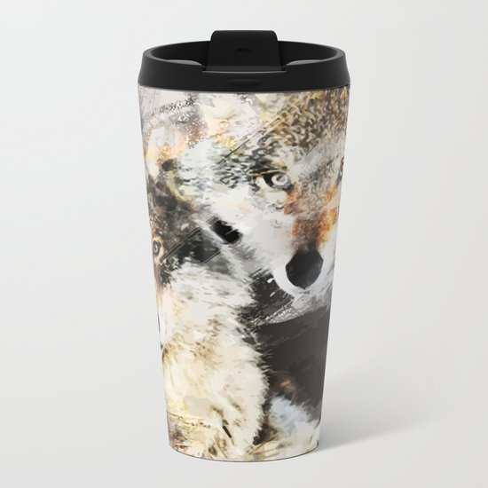 Wolf Nature Autumn Metal Travel Mug