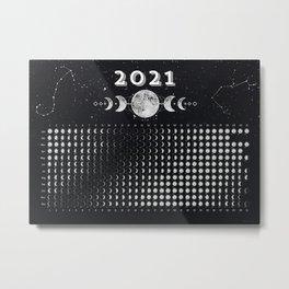 Moon Calendar 2021 (Moon phases 2021) — #6 Metal Print