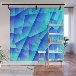Abstract celestial pattern of blue and luminous plates of triangles and irregularly shaped lines. Wall Mural