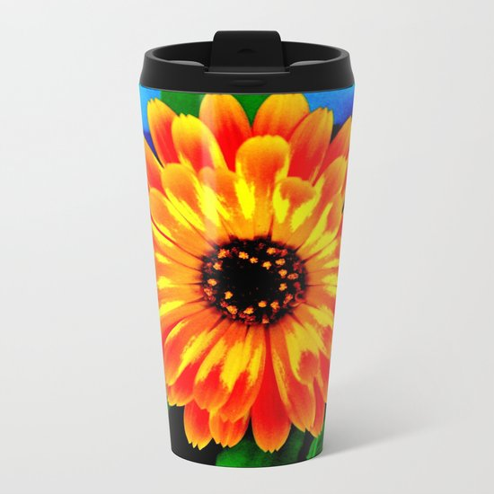 Orange Marigold Metal Travel Mug