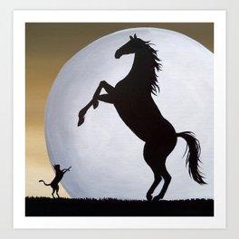 Copy Cat horse cat folk art painting Art Print