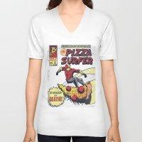 surfer V-neck T-shirts featuring Pizza Surfer by Austin Pardun