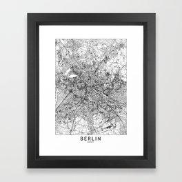 Berlin White Map Framed Art Print