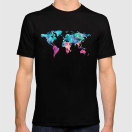 World Map Turquoise Pink Blue Green T-shirt