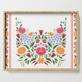 Hungarian folk pattern – Kalocsa embroidery flowers Serving Tray