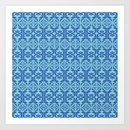 Vintage elegant pattern blue Art Print
