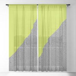 Cement Lime Diagonal Color Block Sheer Curtain