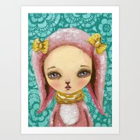 Portrait of a pink bunny Art Print