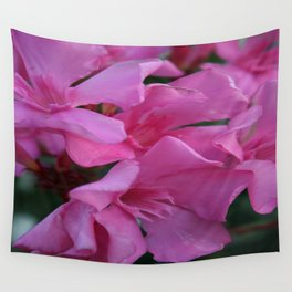 Closeup Shot of Pink Flowers on Oleander Shrub Wall Tapestry