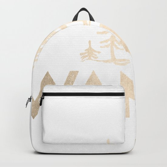 Wander Quote White Gold Backpack