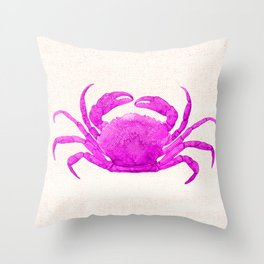 Nautical Pink Crab Linen Throw Pillow