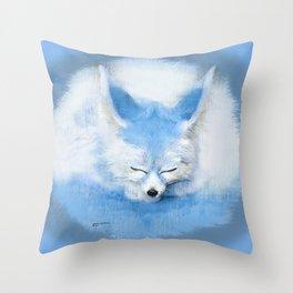 Sleeping Fennec Fox Blue Throw Pillow