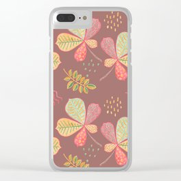 Yellow Autumn Leaves, Dusty Taupe Colors Crayon Drawing Clear iPhone Case
