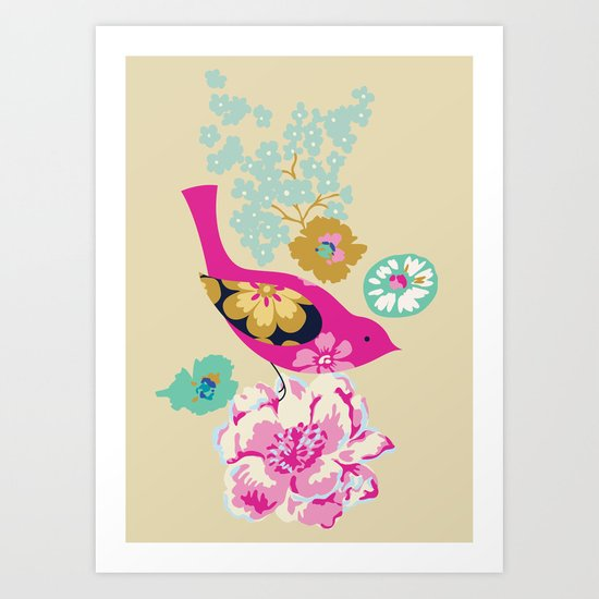 Birds and Blooms 1 Art Print
