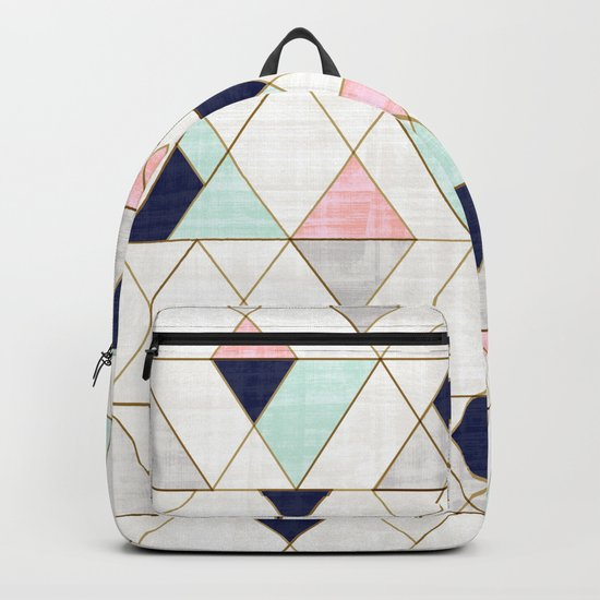 Mod Triangles - Navy Blush Mint by crystalwalen