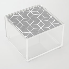 Light Grey and White - Geometric Textured Cube Design Acrylic Box