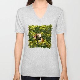 beagle dog flower field vector art Unisex V-Neck