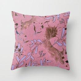 Pink fish pond Throw Pillow