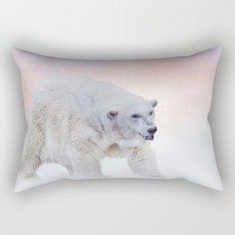 Large Polar bear walking on snow Rectangular Pillow