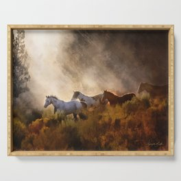 Horses in a Golden Meadow by Georgia M Baker Serving Tray
